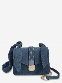 Cross Corduroy Chain Crossbody Bag - Silk Blue