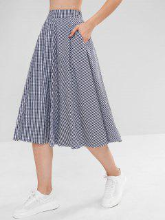 Gingham Print Full Midi Skirt - Multi S