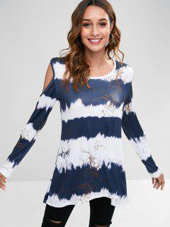 Cold Shoulder Tie Dye Longline Tee - Dark Slate Blue S