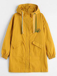 Manteau à Capuche Patch Brodé Avec Poche - Moutarde M