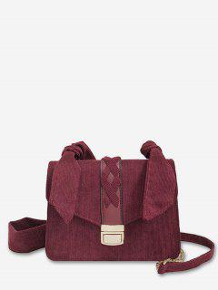 Cross Corduroy Chain Crossbody Bag - Red Wine