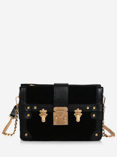 Rivet Panel Chain Crossbody Bag - Black