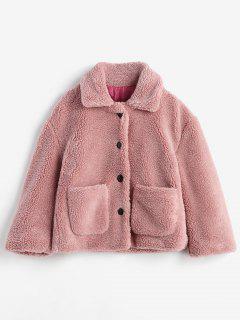 Fluffy Patch Pockets Faux Fur Winer Coat - Pink L