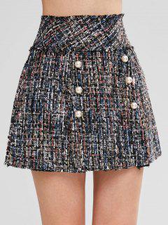 Mini Jupe Avec Fausse Perle Lambrequin En Tweed - Multi L