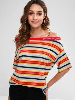 Off Shoulder Striped Loose Tee - Multi L