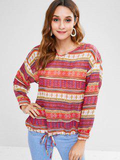 Blusa étnica Con Cuello En V Y Hombros Descubiertos - Multicolor