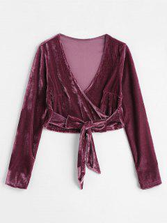 Blouse Superposée Nouée En Velours - Violet Prune M
