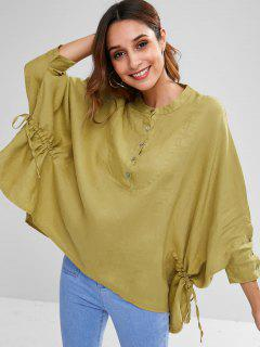 Half Button Batwing Sleeve Blouse - Goldenrod