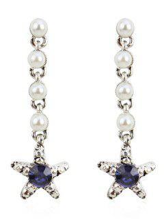 Dangling Rhinestone Star Faux Pearl Earring - Midnight Blue