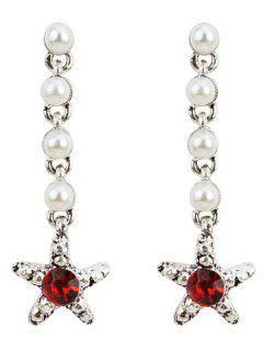 Pendiente Colgante De Perlas De Imitación De Diamantes De Imitación - Rojo