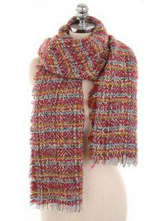 Elegant Plaid Fringed Warm Scarf - Red Wine