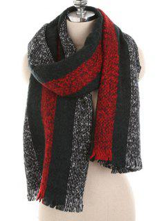 Winter Striped Thicken Long Scarf - Cadetblue