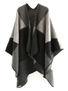 Color Splice Geometry Shawl Scarf - Jet Black