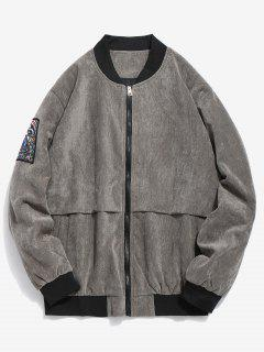 Striped Letter Corduroy Bomber Jacket - Gray M