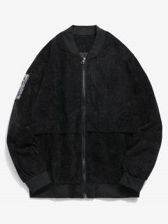 Striped Letter Corduroy Bomber Jacket - Black L