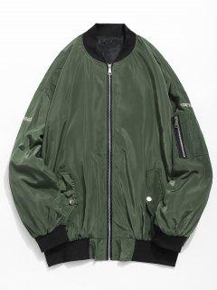 Embroidered Graphic Pockets Bomber Jacket - Army Green Xs