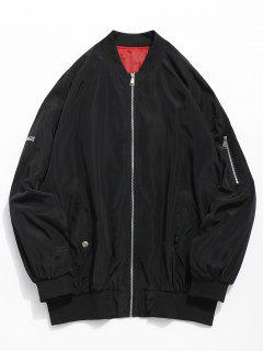 Embroidered Graphic Pockets Bomber Jacket - Black Xl