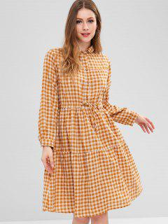 Half Button Checkered Dress - Goldenrod