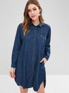 High Low Pocket Chambray Dress - Navy Blue