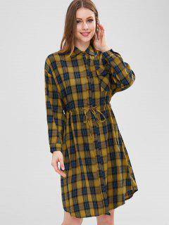 Plaid Pocket Button Up Dress - Goldenrod