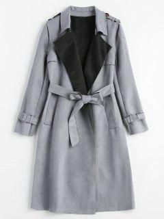 Faux Suede Trench Coat - Blue Gray L