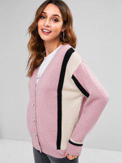 Striped Drop Shoulder Cardigan - Pink