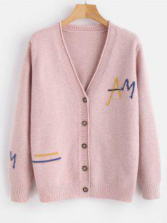 Letter Button Up Cardigan - Pink