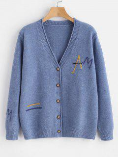 Letter Button Up Cardigan - Sky Blue
