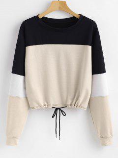 Pullover Color Block Sweatshirt - Apricot Xl