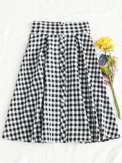 Gingham Box Pleats Full Midi Skirt - Multi L