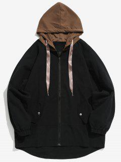 Two Tone Casual Hooded Coat - Black Xl