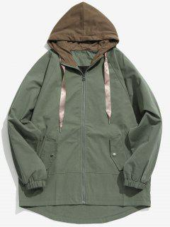 Two Tone Casual Hooded Coat - Army Green Xs