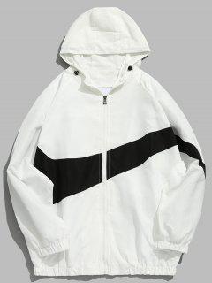 Contrast Casual Zipper Lightweight Jacket - White 2xl