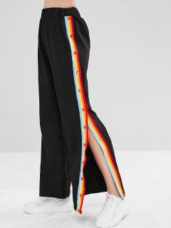 ZAFUL Snap Button Rainbow Striped Pants - Black M