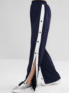 Snap Button Wide Leg Pants - Dark Slate Blue S