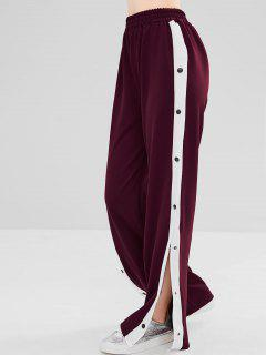 Snap Button Wide Leg Pants - Red Wine S