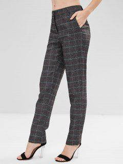 Checked Straight Cut Pants - Multi M