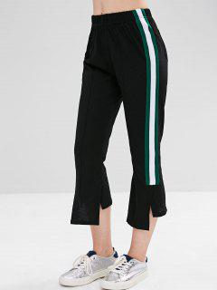 Contrast Asymmetric Slit Pants - Black M