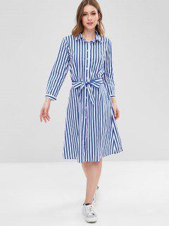 Casual Striped Shirt Dress - Multi L