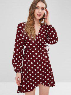 Polka Dot Mini Wrap Dress - Red Wine M