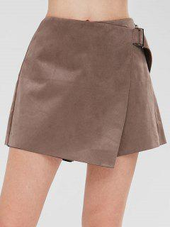 Buckled Faux Suede Skorts - Coffee S