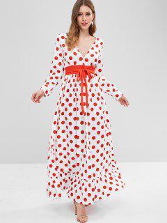 Vestido Largo Con Vuelo Y Lunares - Blanco 2xl
