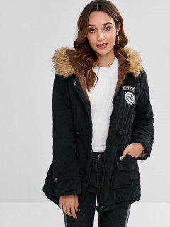 Letter Embroidered Fleece Lined Parka Coat - Black L