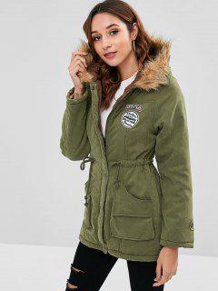 Letter Embroidered Fleece Lined Parka Coat - Fern Green Xl