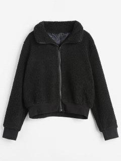 Ribbed Trim Zip Up Faux Fur Winer Coat - Black M
