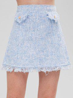 Buttoned Flaps Tweed Mini Skirt - Light Blue L