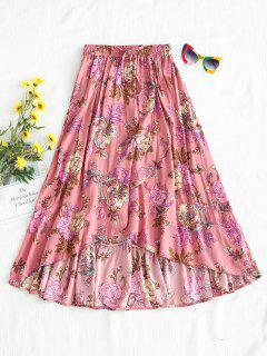 Floral Full Midi Skirt - Pink L