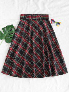 Buckled Belted Tartan Midi Skirt - Multi L