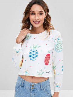 Pineapple Print Crop Sweatshirt - White L