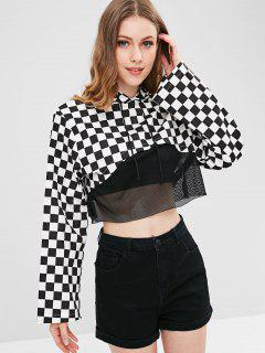 Checkered Mesh Insert Crop Hoodie - Multi M